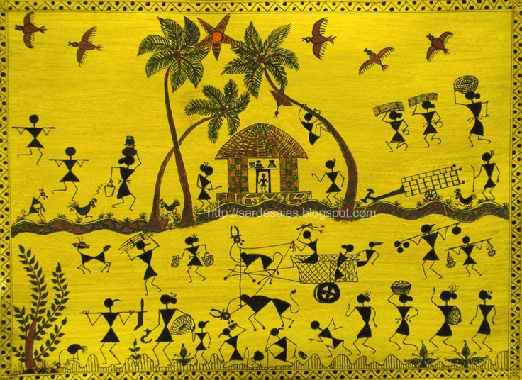 Warli Art - These tribal paintings of Maharashtra were traditionally done in the homes of the Warlis & painted white on mud walls. They usually depict scenes of human figures engaged in activities like hunting, dancing, sowing and harvesting.