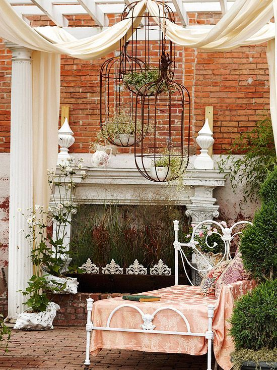 Old metal bed frames make excellent lounge furniture, while vintage wicker enhances the romance of your space