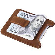 Leder Slim Money Clip Geldbörsen Geld Klammer Kreditkartenetui Halter Braun Neu