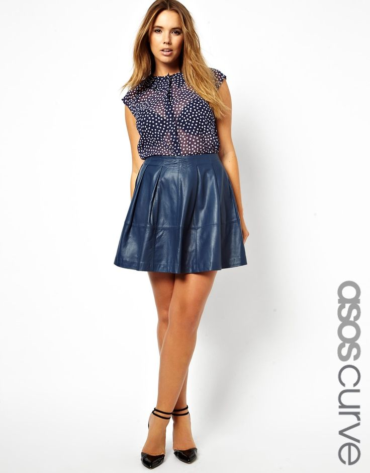 $47, Asos Curve Skater Skirt In Leather. Sold by Asos. Click for more info: https://lookastic.com/women/shop_items/84783/redirect