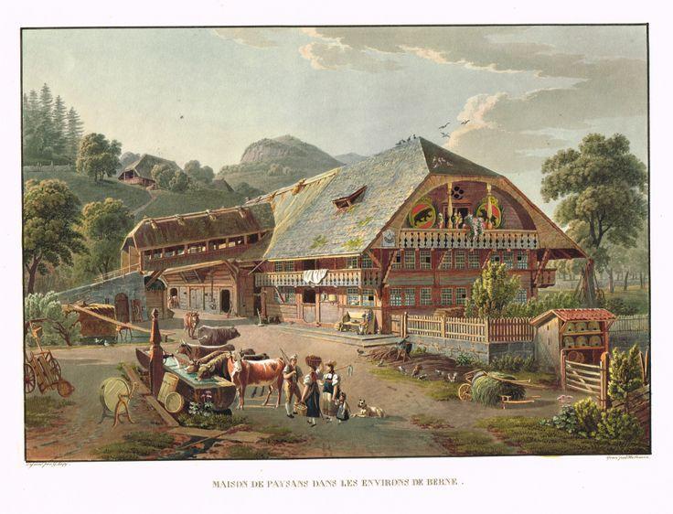 Maison de paysans dans les environs de Berne - Aquatinte - gravure imprimée en couleurs par Johann HÜRLIMANN (1793-1850) d'après Mathias Gabriel LORY fils (1784-1846) - MAS Estampes Anciennes - MAS Antique Prints