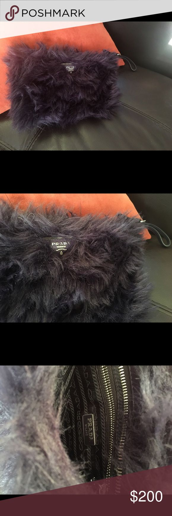 Prada Clutch / purple Furry, dark purple clutch! Color is more bright but unfortunately the photos look a little faded. Will add more photos!! Used a few times only! Prada Bags Clutches & Wristlets