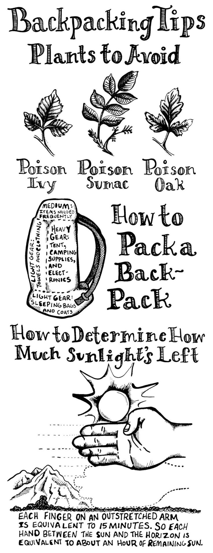 Essential backpacking tips! Avoid poisonous plants and learn how to judge how much daylight you have left without tools.