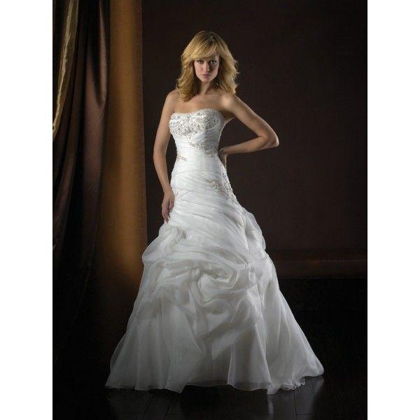 Drop Waist Diamond White Strapless Wedding Dress With: White Organza Ruffles Strapless Beading Beautiful A-line