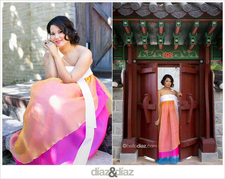 Colorful Korean wedding dress for pictures in addition to THE wedding dress. perfect!