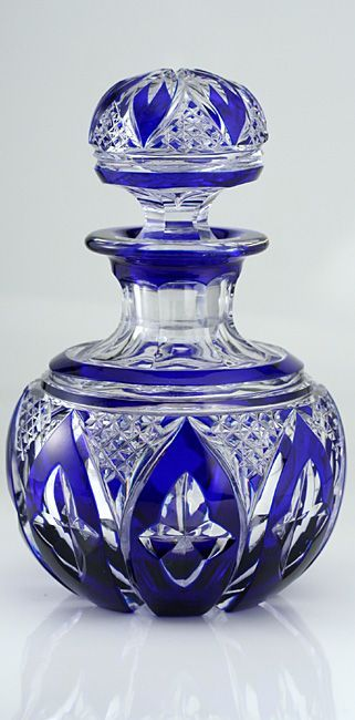fine c1920s cobalt overlay spherical crystal dressing table scent perfume bottle