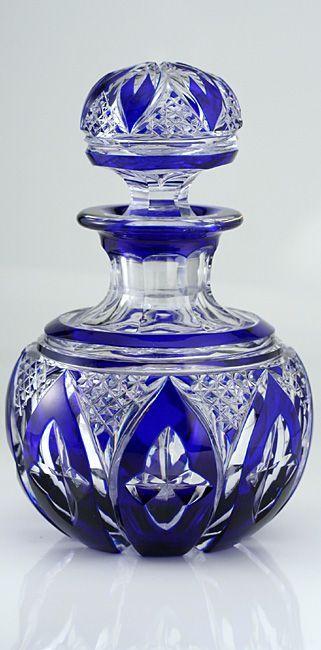fine c1920s cobalt overlay spherical crystal dressing table scent perfume bottle