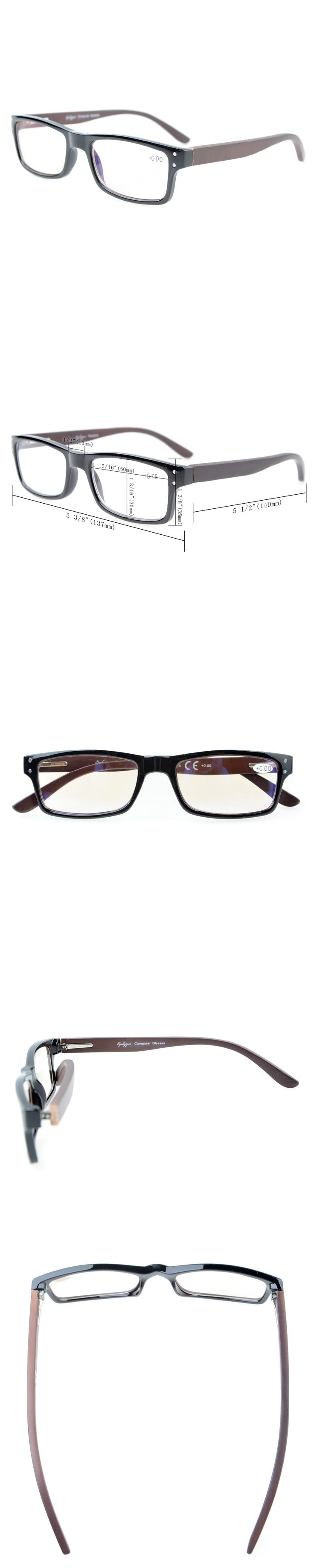CG007 Eyekepper Computer Readers Quality Spring Hinges Wood Arms Mens Womens Amber Tinted Computer Reading Glasses +0.00---+4.00