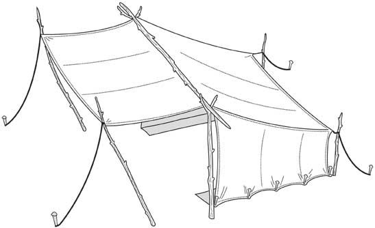Sometimes called Baker's tent, this half-tent replicates an original lean-to shown in a French fur trapper's chalk print, drawn on the plain...