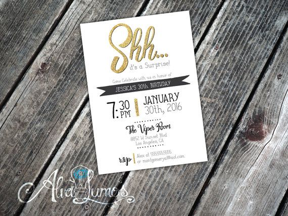 Shhh Surprise Any Age Surprise Birthday Invitation by AlvaLumos