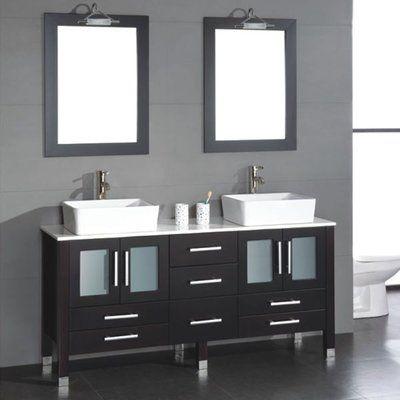 Brayden Studio Meserve 65 Espresso Solid Wood Double Bathroom