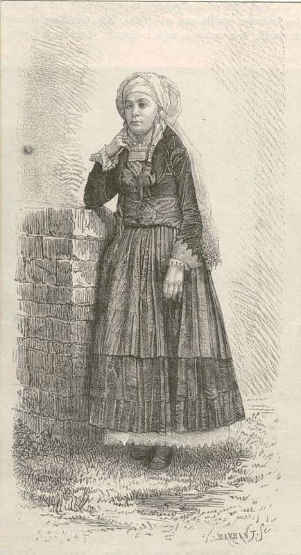 "Engraving by E.Ronjat depicting a woman from Psara. From the magazine ""Le Tour du Monde"", Paris 1876 ©Peloponnesian Folklore Foundation, Nafplion, Greece"