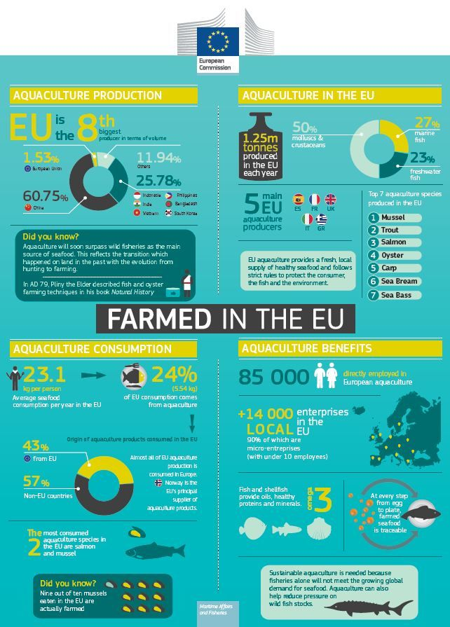"Farmed in the EU' isn't only the meat and two veg on your plate, it also means the fish in your dish! Check out the new infographic from Inseparable that gives you the lowdown on all things aquaculture, a sector that now provides us with almost 50% of the seafood we eat. Want to find out more? Then visit the ""Farmed in the EU"" pages on Inseparable's website http://ec.europa.eu/fisheries/inseparable/en/farmed-eu#quicktabs-farming_in_the_eu_en=0 #nutrition #food"