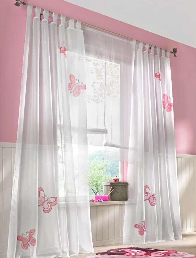 Tende cameretta per bambini - Tende bianche con farfalle rosa
