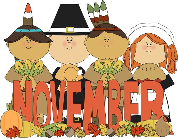 Month of November pilgrims and Indians.