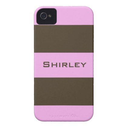 Pink and Chocolate Brown Wide Stripes by STaylor iPhone 4 Case - modern gifts cyo gift ideas personalize