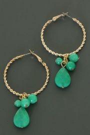 Oorbellen Creolen Druppel - Turquoise