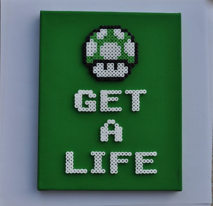 1up Mushroom - Super Mario Bros. 8 Bit Perler Sprite on Canvas. $20.00, via Etsy.