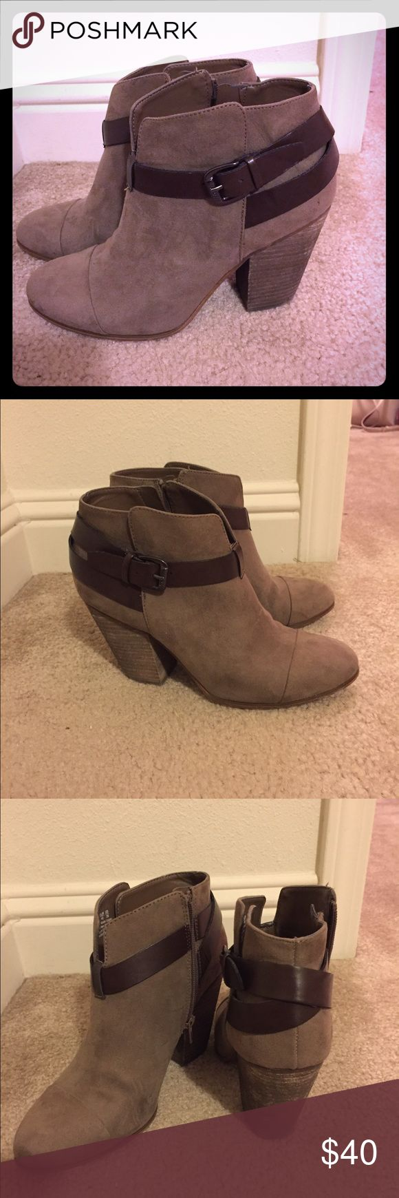 Carlos Santana Ankle Booties Tan nubuck ankle booties with brown wrap around straps. Super cute with dresses and skinny jeans. Make an offer! No trades Carlos Santana Shoes Ankle Boots & Booties