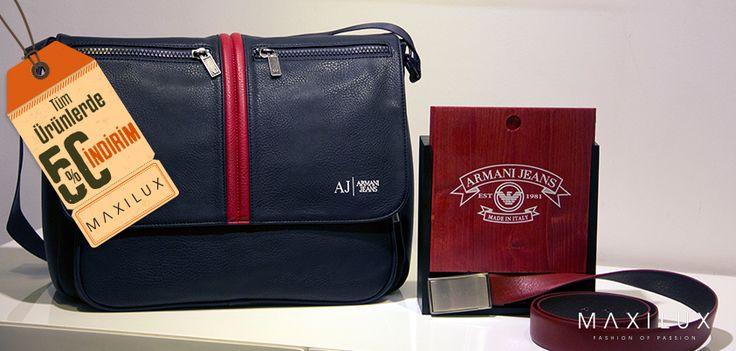 Armani Jeans'in çanta ve kemeri ile stilinizde rahatlık ön planda!  #Maxilux #Giyim #Marka #Moda #Fashion #Brand #AJ