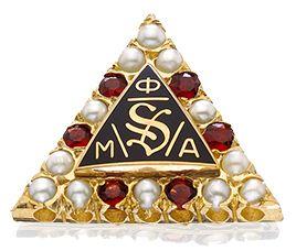 Phi Mu Alpha Sinfonia Crown Pearl and Garnet Badge