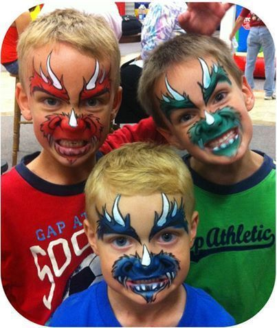 Grab out those face paints and turn all your party guests into little dinosaurs!  Quick and easy face paint idea.: