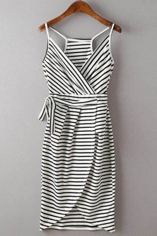 Stylish Spaghetti Strap Stripe Print Lace-Up Women's Dress Summer Dresses | RoseGal.com