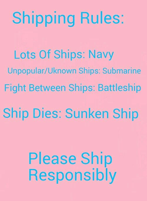 Shipping Rules in Fandoms. This is absolutely fantastic!