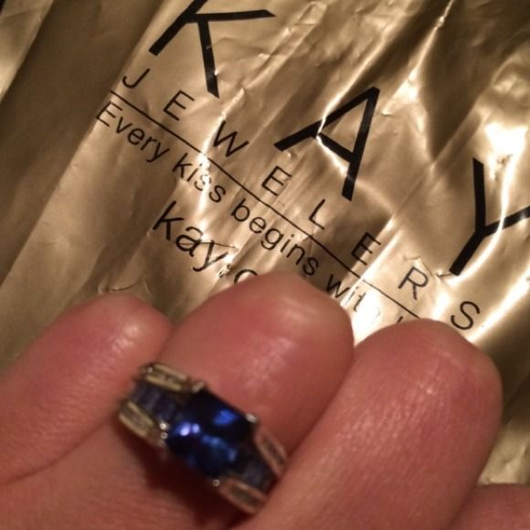 New Saphire ring from Kay Jewelers Have original receipt. Authentic Saphire ring from Kay Jewelers. SAPHIRE RING 1/8 ct tw diamonds 10K White Gold. Will give better deal in Ⓜ️ercari! Kay Jewelers Jewelry Rings