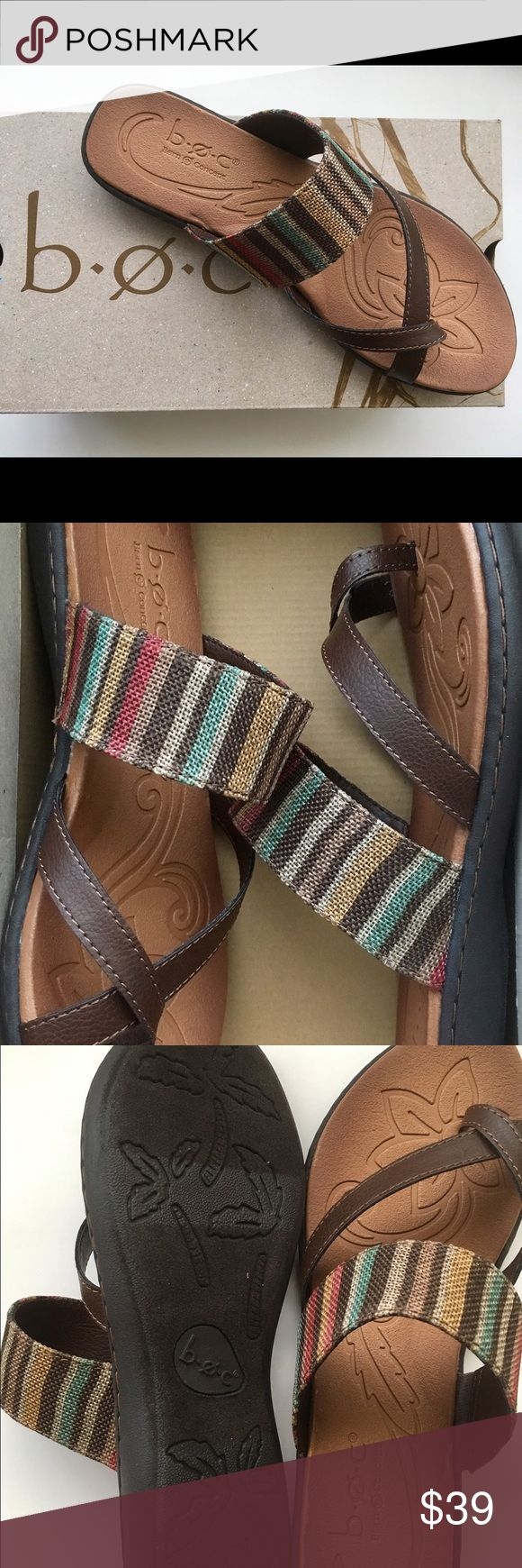 BOC things new in box brown striped top BOC things new in box brown striped top  Brand new w box . Per box they are size 10, but fit like size 9.5 most likely All man made materials. Soft foot bed . BOC- Born Concepts brand . BOC Shoes Sandals