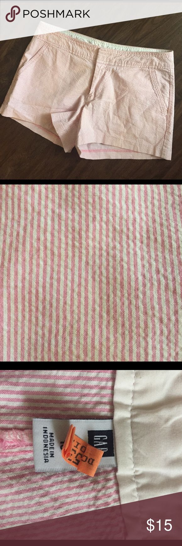 EUC Gap pink seersucker shorts Super cute and great for spring and summer. Excellent condition! I think they're from Gap outlet because the tag has three dots on it. GAP Shorts