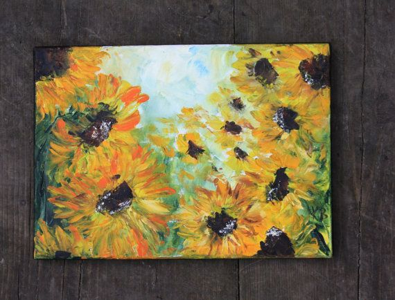 Original Art Sunflowers Oil Painting Art by BarbaraGallery on Etsy