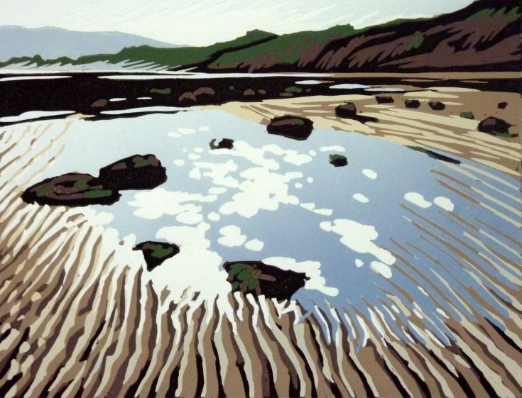 ARTFINDER: Tide's Out Again (Robin Hood's Bay) by Alexandra Buckle - A reduction linocut capturing the sky reflected in a pool of water at Robin Hood's Bay in Yorkshire. When I visited the tide was a long way out.  This is a...