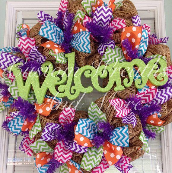 Door on pinterest spring wreaths burlap wreaths and deco mesh