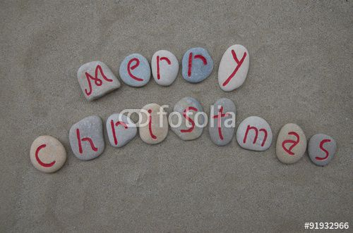 """Download the royalty-free photo """"Merry Christmas on carved and red colored stone letters"""" created by Ciaobucarest at the lowest price on Fotolia.com. Browse our cheap image bank online to find the perfect stock photo for your marketing projects!"""
