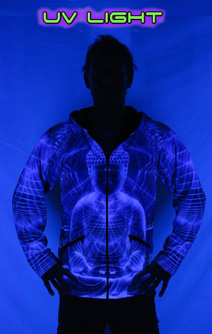 Sublime Hooded Jacket : Ocean Buddha. Printed using sublimation printing on a high quality polyester fleece. This allows for extremely vibrant colors that will never fade away and results in an extremely soft 'feel' to the jacket, providing ultimate comfort. Fully lined with black fabric. 2 outside zip pockets and 2 inside zip pockets. Secret stash pocket label ! Not printed with UV inks, but printed on UV active fabric, so there is some effect under the blacklight. Artwork by Amygdalah