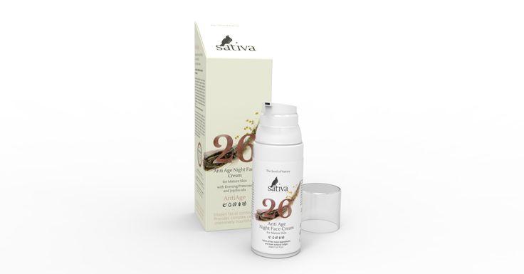 Крем для лица Anti Age ночной №26 Sativa (для зрелой кожи всех типов, омоложение и коррекция цвета лица), 50 мл