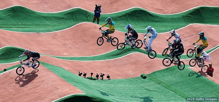 Connor Fields, Anthony Dean of Australia, Corben Sharrah, Bodi Turner of Australia and others compete in the men's BMX quarterfinals at the Rio 2016 Olympic Games at Olympic BMX Centre on Aug. 18, 2016 in Rio de Janeiro.