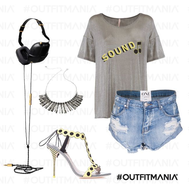 Outfit Deejay | Shorts denim One e t-shirt laminata Imperial... | #outfitmania #outfit #style #fashion #dresscode #amazing #cool #musthave #dress #short #t-shirt #imperial #music #party #one #cuffie #shoes | CLICCA SULLA FOTO PER SCOPRIRE L'OUTFIT E COME ACQUISTARLO