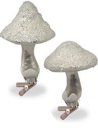 Svamp julpynt på clips silver shabby chic lantlig stil