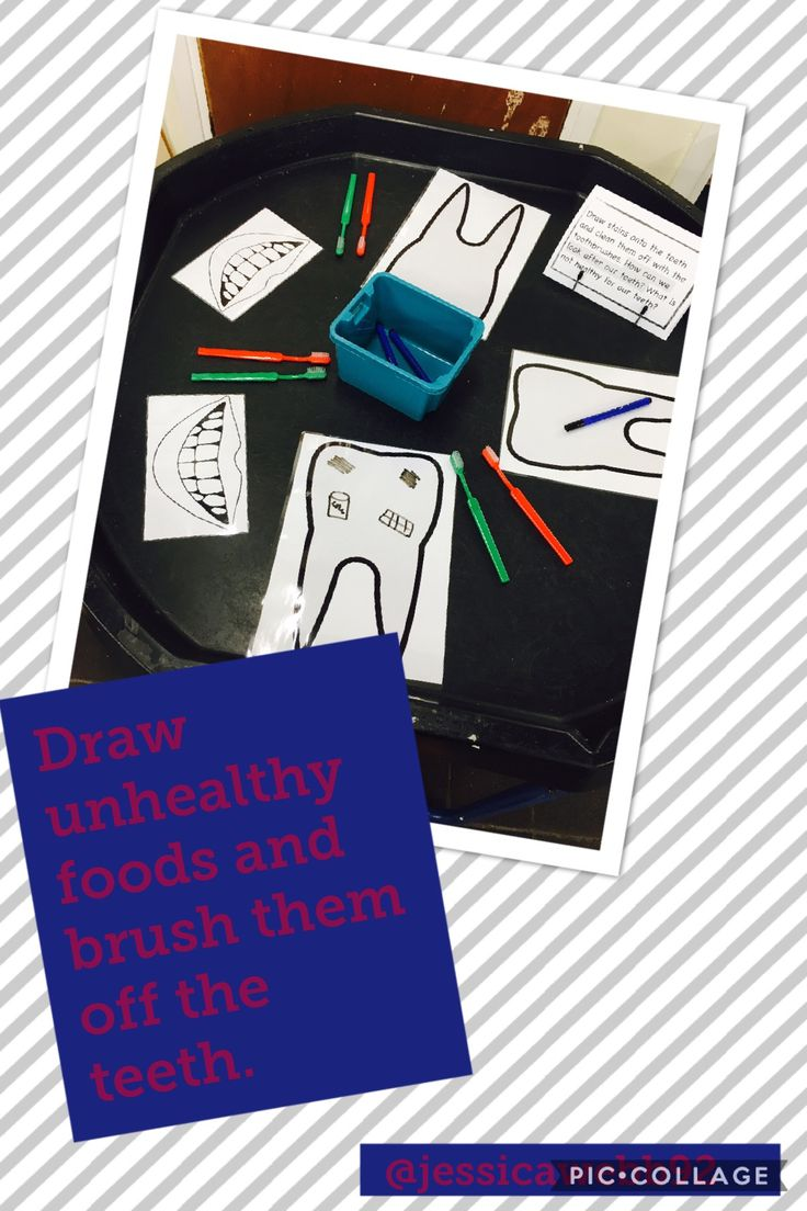 Draw unhealthy foods and clean them off the teeth with the toothbrushes.
