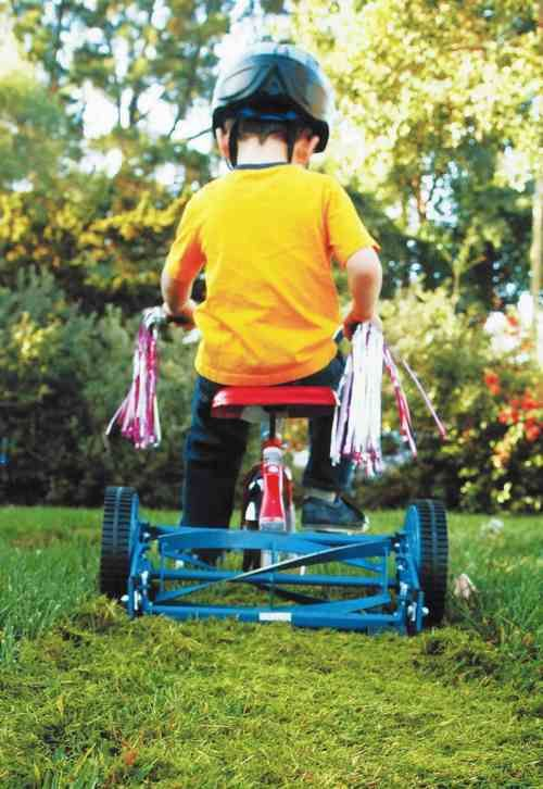 TRICYCLE LAWN MOWER..that's what I like...get the kids working!!!