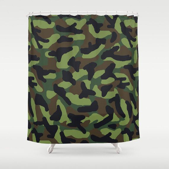 Green Camo Shower Curtain For Boys Army Hunting Military