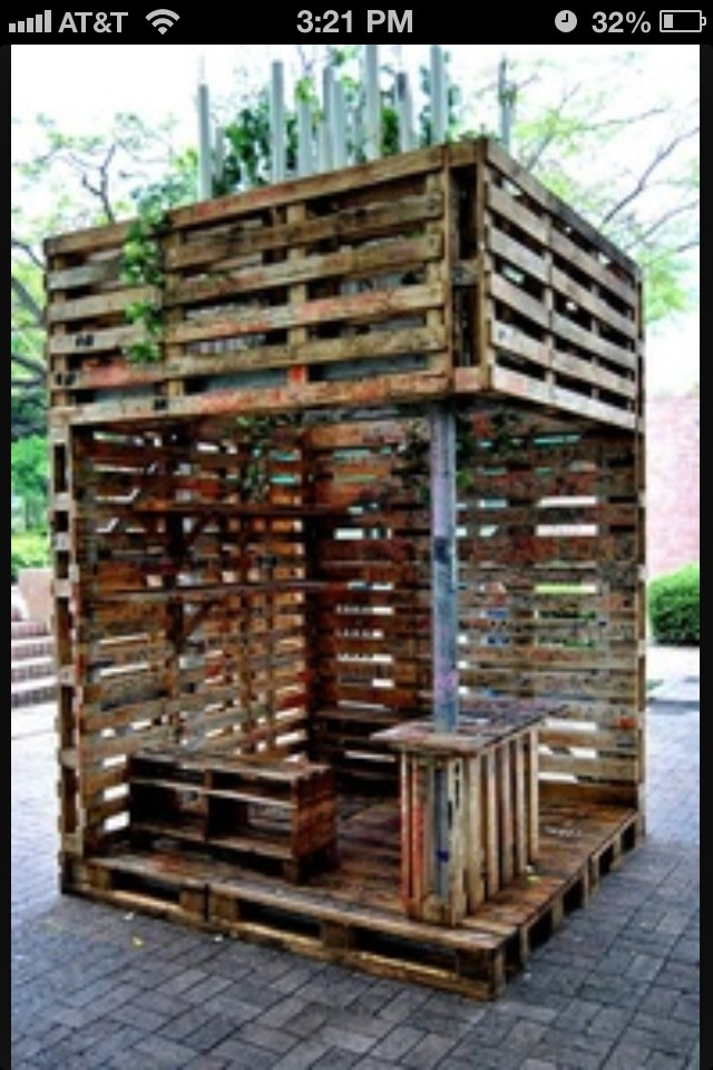 16 best images about pallet shelters on pinterest for How to make a pallet fire pit table