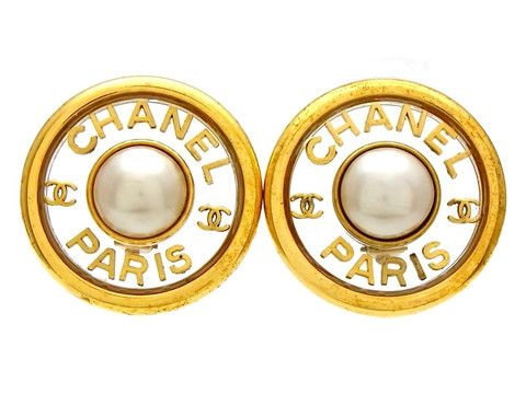 Vintage Chanel earrings CC logo pearl large round by Chanel | Vintage Five