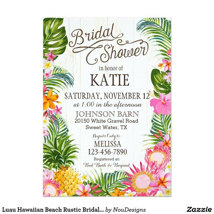 Luau Hawaiian Beach Rustic Bridal Shower Card Rustic beach luau theme with tropical floral featuring plumeria, hibiscus, and pineapple bridal shower card.