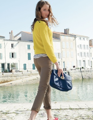 Relaxed - Yellow Cardigan, Striped Blouse, Tan Pants