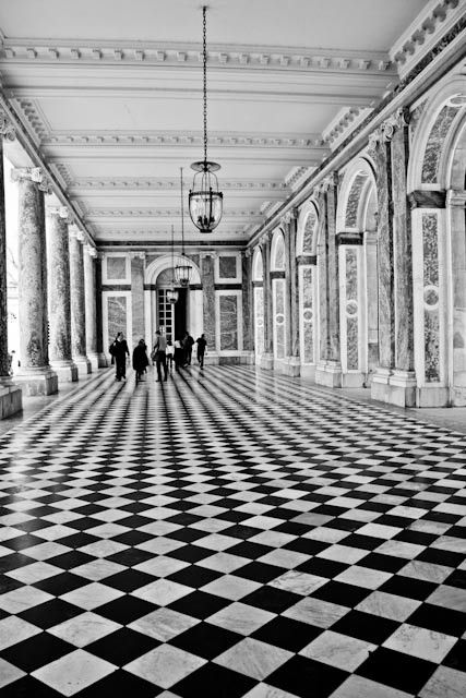 Paris photography - As Seen in Harpers Bazaar Walking in Black and White - French Architecture Versailles, France 8x10 Fine Art Photograph
