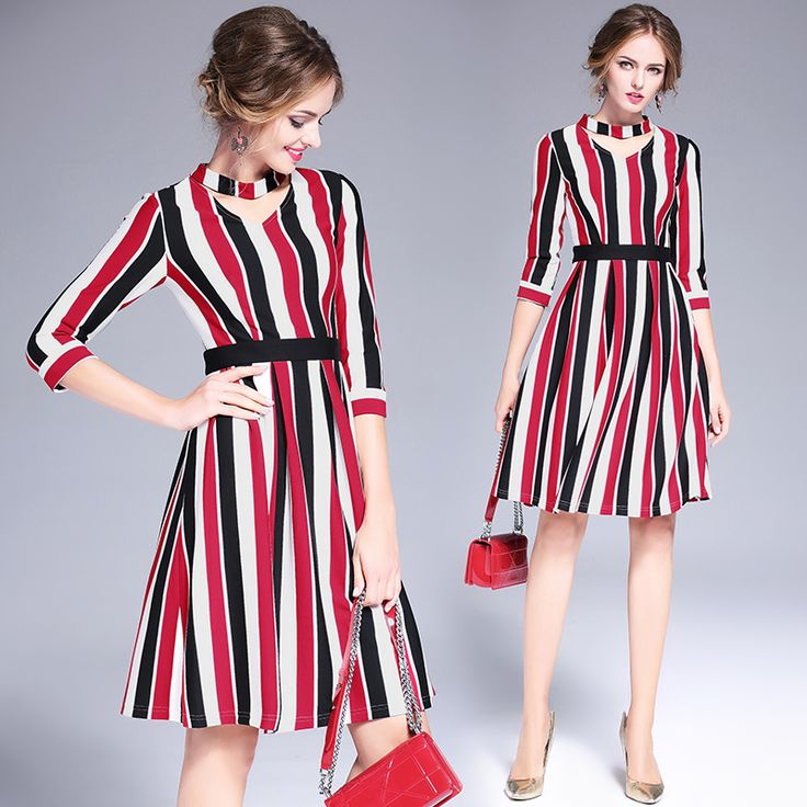 New European 2017 Spring Autumn Womens Elegant Hollow Out Dresses High Quality striped print Slim Party Dresses OL Vestido 6219