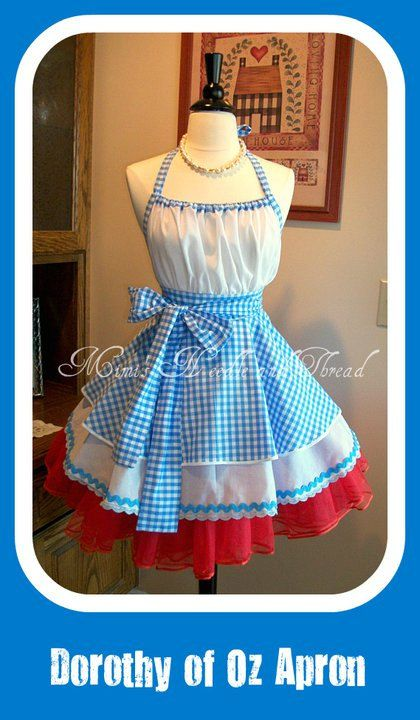 retro aprons/Dorothy/wizard of Oz/made to order/costume/aprons/full/women aprons/blue gingham on Etsy, $65.00